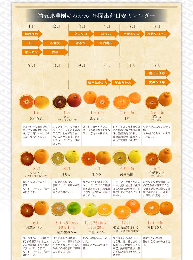 年間出荷目安カレンダー